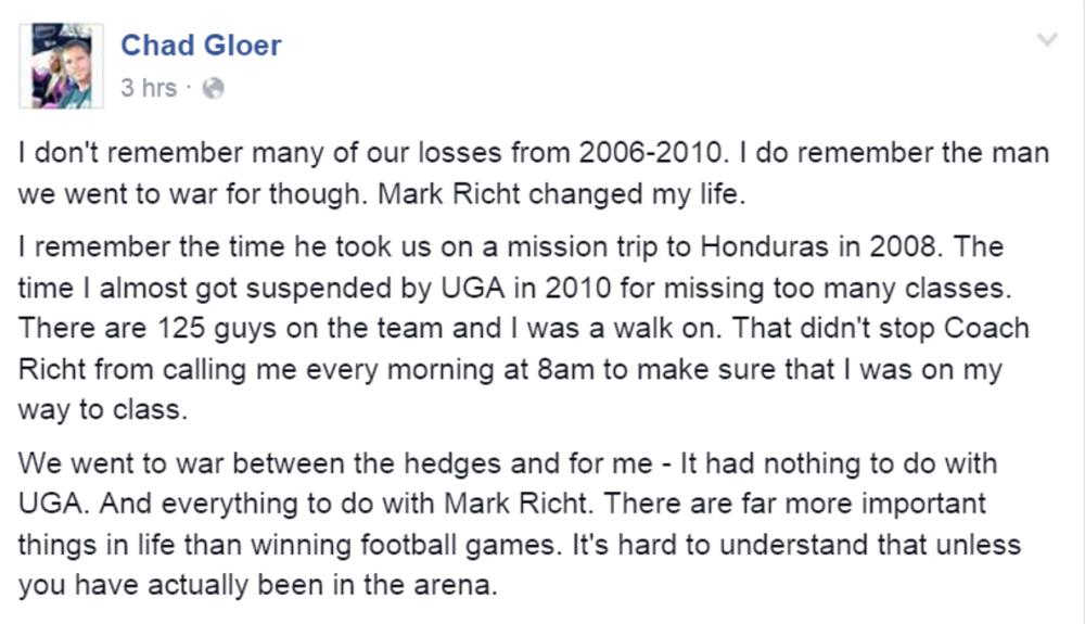Chad Gloer on Coach Richt