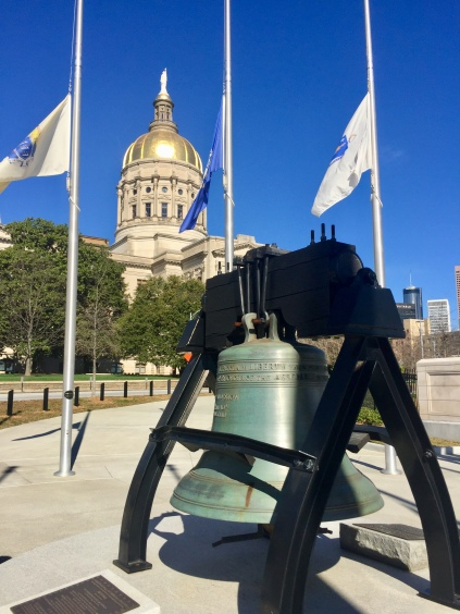 Replica of Liberty Bell in front of Georgia State Capitol
